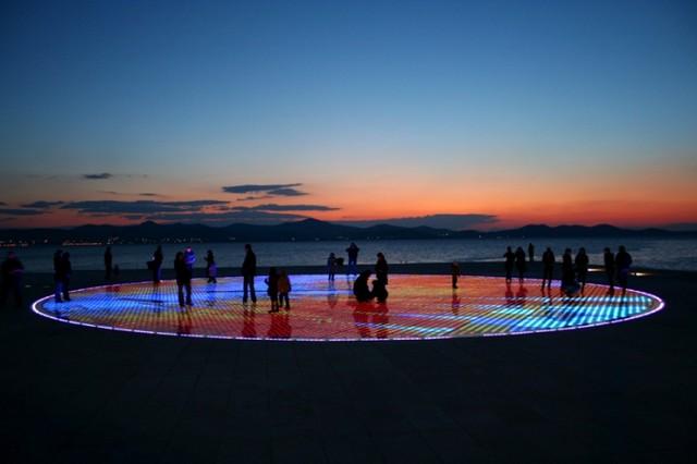Zadarski bulwar Riwa, zachód słońca